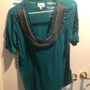 Anthropologie Deletta Teal Jeweled Top - L